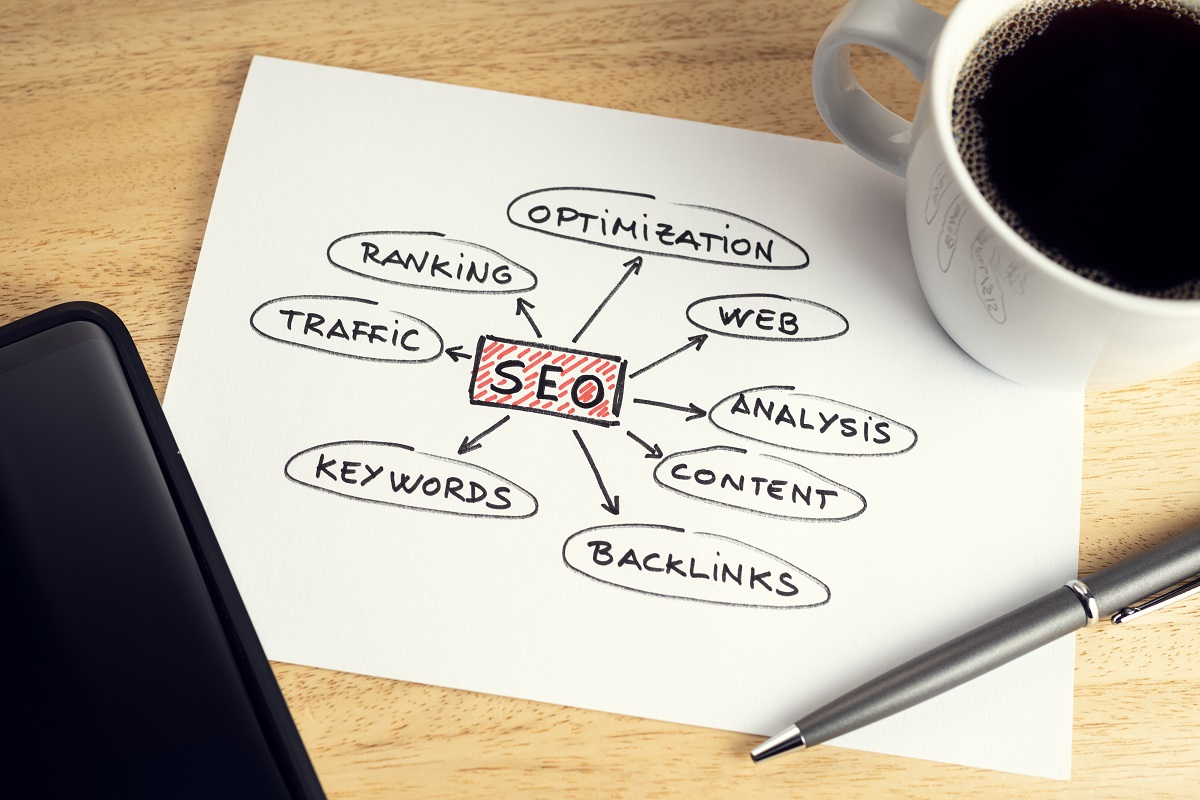 seo-or-search-engine-optimization-concept-paper-with-seo-ideas-or-plan-cup-of-coffee-and-smartphone-on-wooden-table-desk