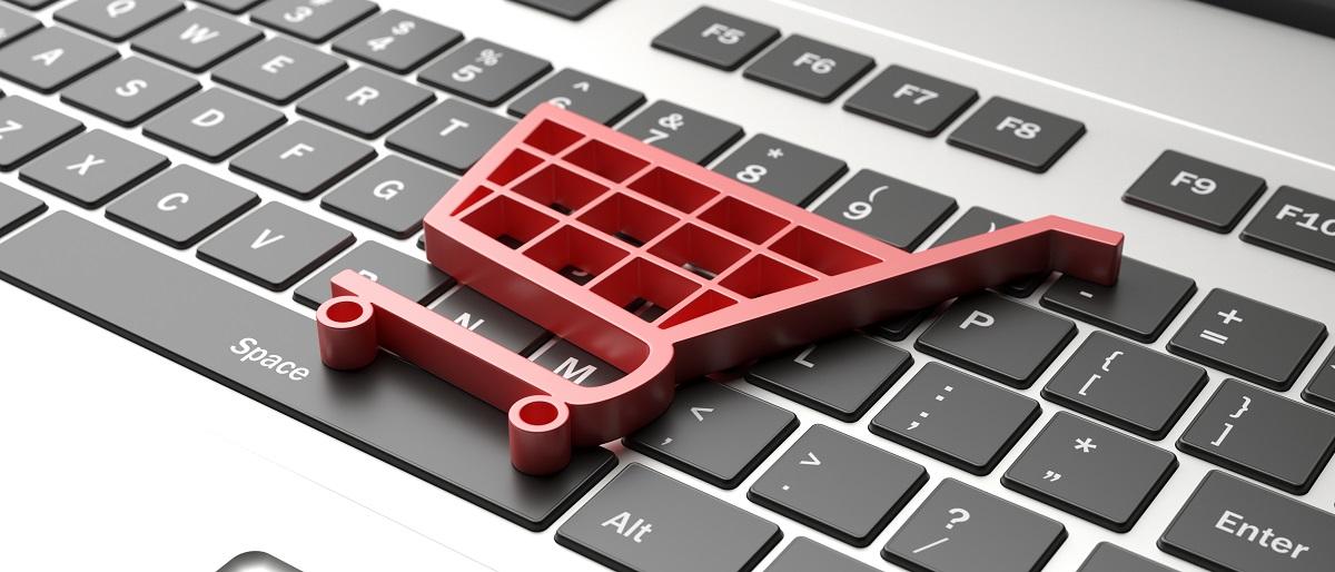 e-commerce-symbol-on-a-computer-keyboard-black-friday-concept-3d-illustration